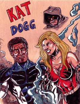 Kat adn Dogg on cardboard maskless by hdub7