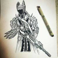 Over exotic Warlock with a Vex by KobOneArt