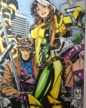 Gambit and Rogue by Drakelb