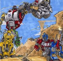 Optimus Prime vs Devastator by G1d4n