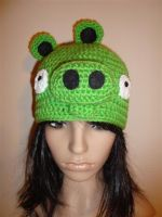 angry birds pig crocheted hat by Irenescrochet