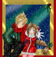 Aerith and Cloud Christmas by SassyLilPanda