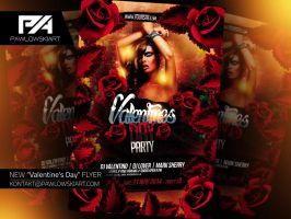 Valentine's Day Party Flyer Template by pawlowskiart