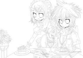 MAID CAFE LINEART by sonnyaws