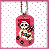 Happy Kitty Cat Skull Dog Tag by SugarAndSpiceDIY