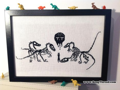 Velicoraptors and cat cross stitch by SongThread