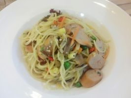 Bacon and Sausage Aglio Olio by nosugarjustanger