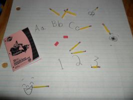 Pencils, erasers, notebook by kayanah