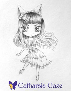 Chibi Catgirl Sketch by CatharsisGaze