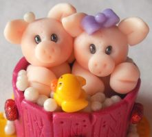Piglets In Bathtub close up by HeartshapedCreations
