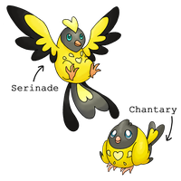Fakemon - Chantary and Serinade by Sliv-Pie