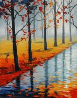 Wet Autumn Road by artsaus