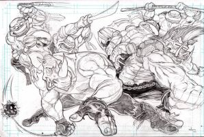 Rocksteady and Bebop vs the TMNT pencils by cartoonistaaron