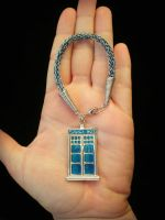 Viking Knit Tardis Bracelet in Blue and Silver by thewellandspindle