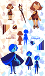 Gemsona Reference Sheet, Axinite and Hauyne by chicinlicin