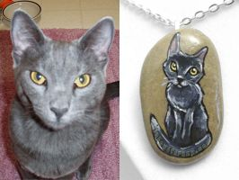 Custom Russian Blue Cat Pendant Necklace by sobeyondthis