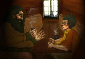 Hagrid and Harry by Silvaticus