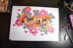 Orange Koi And Pink Cherry Blossoms by thecuriouskitty