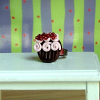 Chocolate Pink cupcake ring by Miss-Millificent