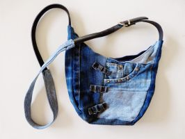 Small Jeans Patchwork Sling Bag by ajnataya