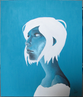 Blue Girl on Canvas by kaniphish