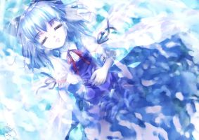 Cirno-Peaceful sleep in water- by Harukim