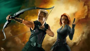 Hawkeye and Black Widow by GloriousRyan