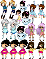 .+ Sticker Sheet Chibi Girl +. by tobi2moodring