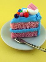 Bubblegum Cake Slice by monsterkookies