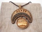 Cleopatra bead embroidered pendant with jasper by nikkichou