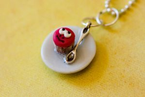 Lazy Face Mini Cupcake Necklace by MiniSinLove
