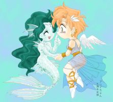 Mermaid and Angel by nushi