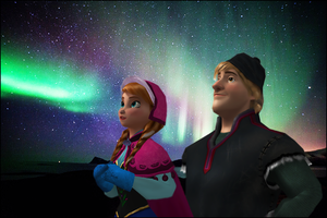 Northern Lights . Kristoff and Anna by xHoneyLemon