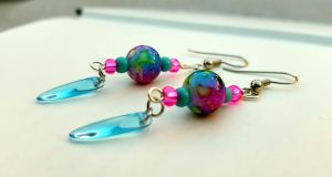 Bright pink and blue beaded dangle earrings by TEDSbyBri