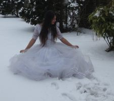 White dress in Snow Stock 4 by NaomiFan