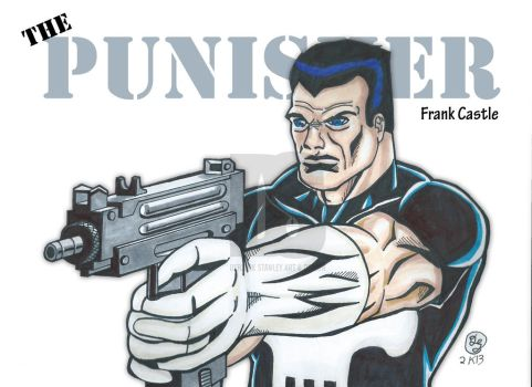 Punisher with an Uzi color and text by DerrickStanleyArt