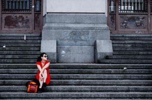 The girl in a red dress by ldeseta