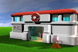 Pokecenter Outside WIP by mca2008