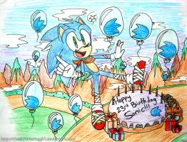Happy 23rd birthday Sonic! by CheekyDrawingGirl