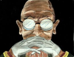 Professor Farnsworth as Gendo Ikari by samoMD