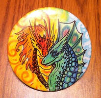 Fire And Water Dragon 3 inch Art pin by CrystalCircle