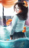 The School Girl And Gold Fishes by minnhsg
