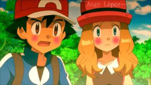 Ash x Serena AmourShipping Sonrojo by AngyLopez