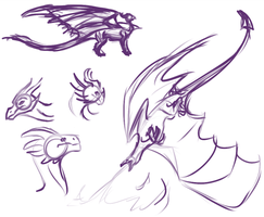 dragon sketches by Morgan-Michele