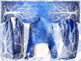 White Tree of Gondor silk scarf - updated! by MinkuLul