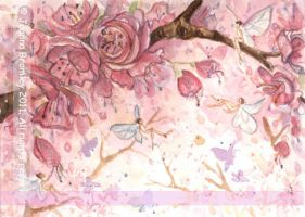 ACEO Pink Blossom Wisps by JoannaBromley