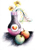 Vase and fruits by AnnRosalyn