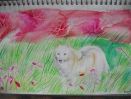 watercolor fall wolf by Armadeo