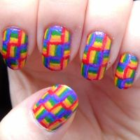 Rainbow Weave Nail Art by quixii