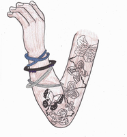 Arm with butterfly tattoos by Mii-riam